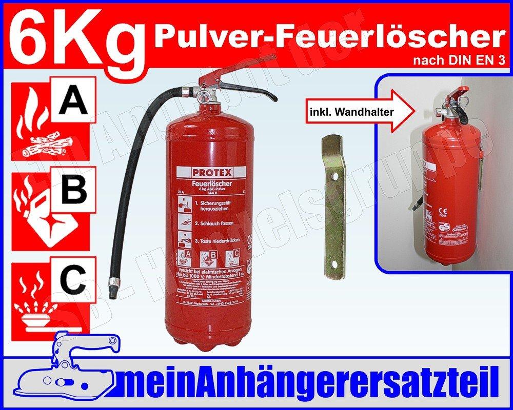 Ordentlich ABC Feuerlöscher 6kg Pulverlöscher 6 kg Dauerdrucklöscher: Amazon  HG22