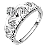 Amazon Price History for:fourHeart 925 Sterling Silver Plated Gorgeous CZ Princess Crown Tiara Band Wedding Cz Eternity Ring