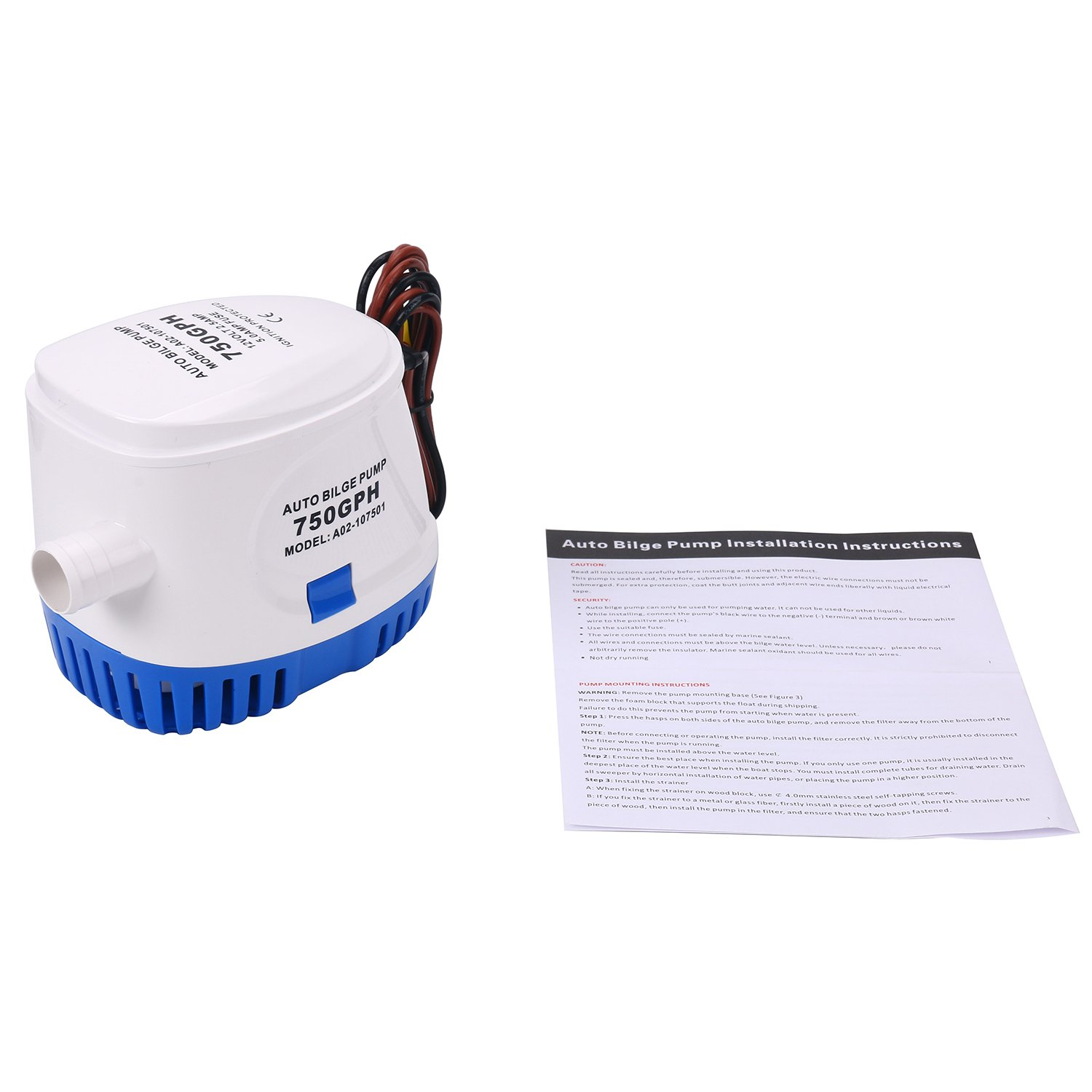 Amarine Made Automatic Submersible Boat Bilge Water Pump 12v 750gph Large Pumps Wiring Diagram Auto With Float Switch New Alfa