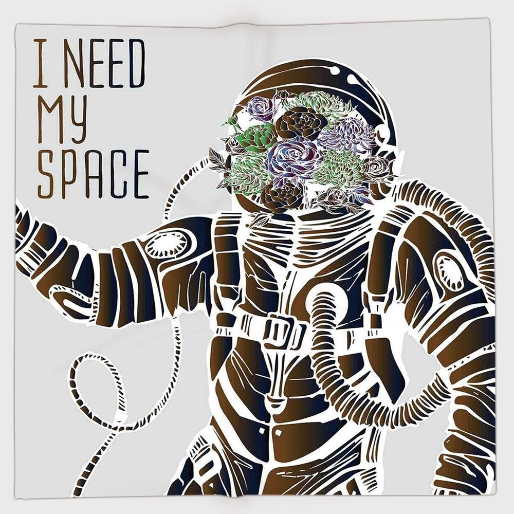Cotton Microfiber Hand Towel,Outer Space Decor,Funny Love Quote with a Floral Head Cosmonaut Pilot Man Humor Illustration,Multi,for Kids, Teens, and Adults,One Side Printing