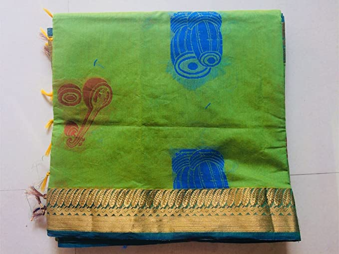 Music symbols design Green color Silk Cotton Saree With blouse piece