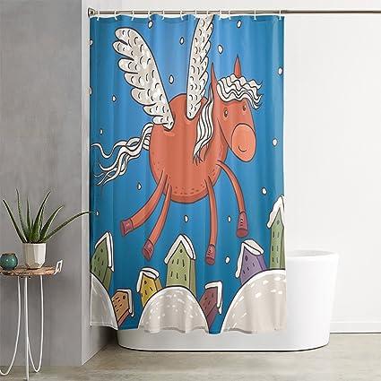 OFloral Horse Snow Winter Dark Orange Blue Shower Curtain Decor Set With Liner