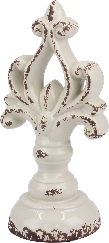 Stonebriar Accents of Faith Medium Distressed Decorative Ceramic Pedestal Worn White