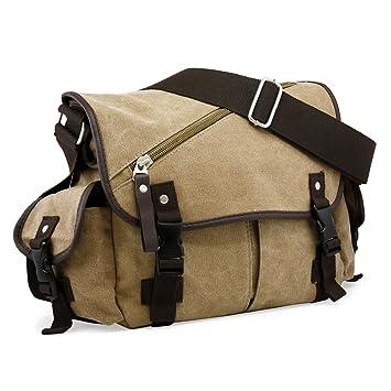 Amazon.com  Oct17 Men Messenger Bag School Shoulder Canvas Vintage  Crossbody Military Satchel Bag Laptop Khaki  GEARONIC INC. e7837b41527f3