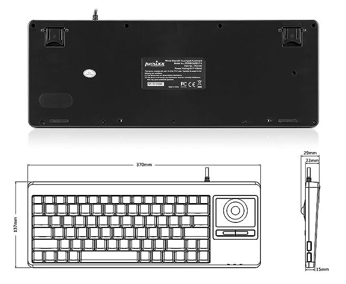 Perixx PERIBOARD-514HPLUS - Teclado con Cable y Rueda de Desplazamiento, 2 concentradores, 370 x 138 x 29 mm, distribución del Teclado en inglés Americano: ...