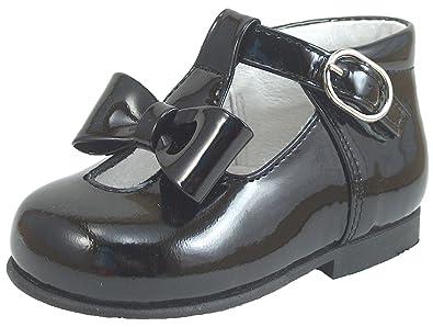 0eda4fc9bc74 DE OSU Girls Black Patent Leather Dress Shoes K-5625 (Infant Toddler)