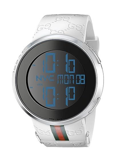 Gucci YA114214 del hombre I-Gucci Digital blanco verde rojo correa reloj: Amazon.es: Relojes