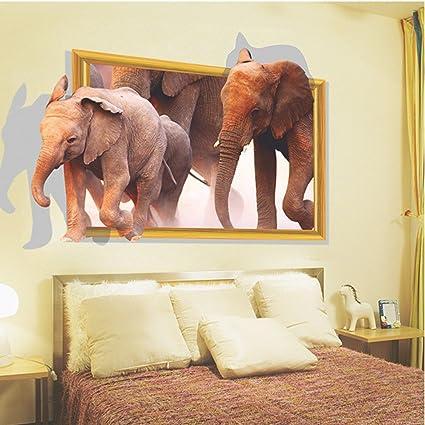 Attirant 3D Elephants Wall Decal Home Sticker PVC Living Room Decor Bedroom Decal  Sticker (Elephant)