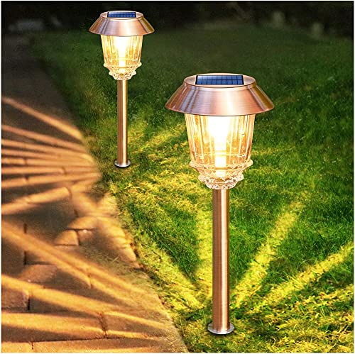 Solar Garden Lights Outdoor Pathway Lights Glass Stainless Steel Waterproof Solar Powered Landscape Lights for Yard Patio Lawn Path Walkway, Super Bright 12-40 Lumens, 2 Pack