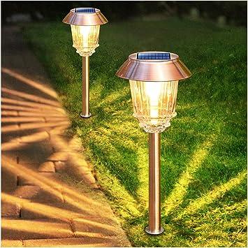 solar garden lights outdoor pathway lights glass stainless steel waterproof solar powered landscape lights for yard patio lawn path walkway super
