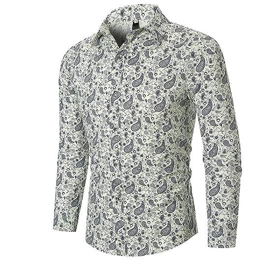 Vectry Hombres Otoño Étnico Negocios Ocio Impresión Camisa ...