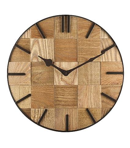 EQEQ Salón de madera maciza de hierro eólica industrial relojes personalizados reloj de cuarzo Retro silencio