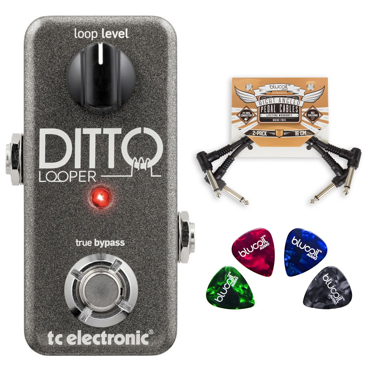 TC Electronic Ditto Looper Effects Pedal BUNDLED WITH 2 Pack of Blucoil Pedal Patch Cables AND 4 Pack of Celluloid Guitar Picks