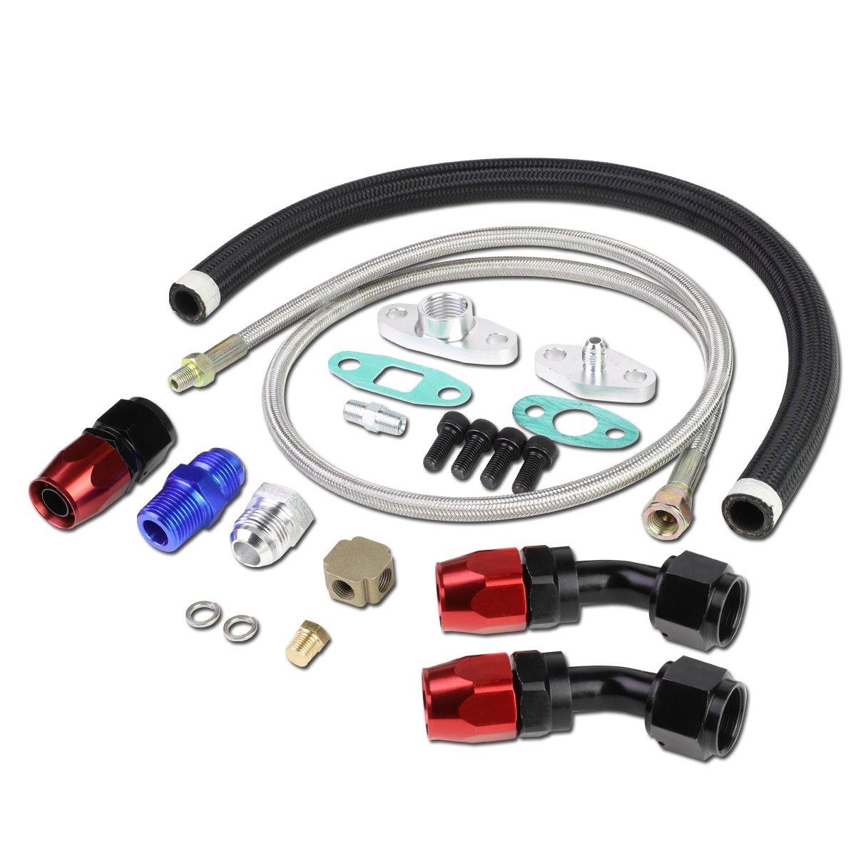 DNA Motoring OFL-KIT-008 Universal Turbocharger Oil Drain//Feed Line Kit