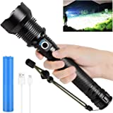 Rechargeable LED Flashlights High Lumens, 90000 Lumens Super Bright Zoomable Waterproof Flashlight with Batteries Included &