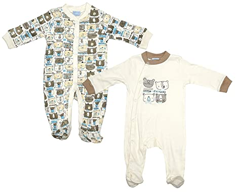 79c80ab04 Boys Baby Pack of 2 Teddy Bear Friends Sleepsuit Rompers Sizes from Newborn  to 9 Months: Amazon.co.uk: Clothing