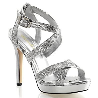 42d108795 Summitfashions Womens Sparkly Silver Glitter Sandals Dress Shoes with 4.75  Inch Heels Size  6