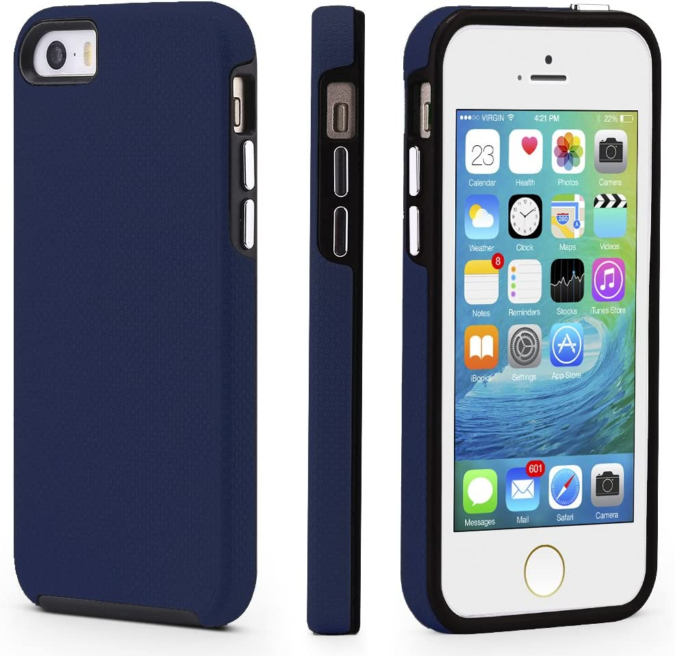 CellEver iPhone 5/5s/SE (2016 Edition) Case, Dual Guard Protective Shock-Absorbing Scratch-Resistant Rugged Drop Protection Cover for iPhone 5/5S/SE (Navy Blue)