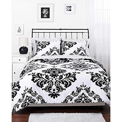 Amazoncom Morgan Teen Black White Damask Reversible Twin Size