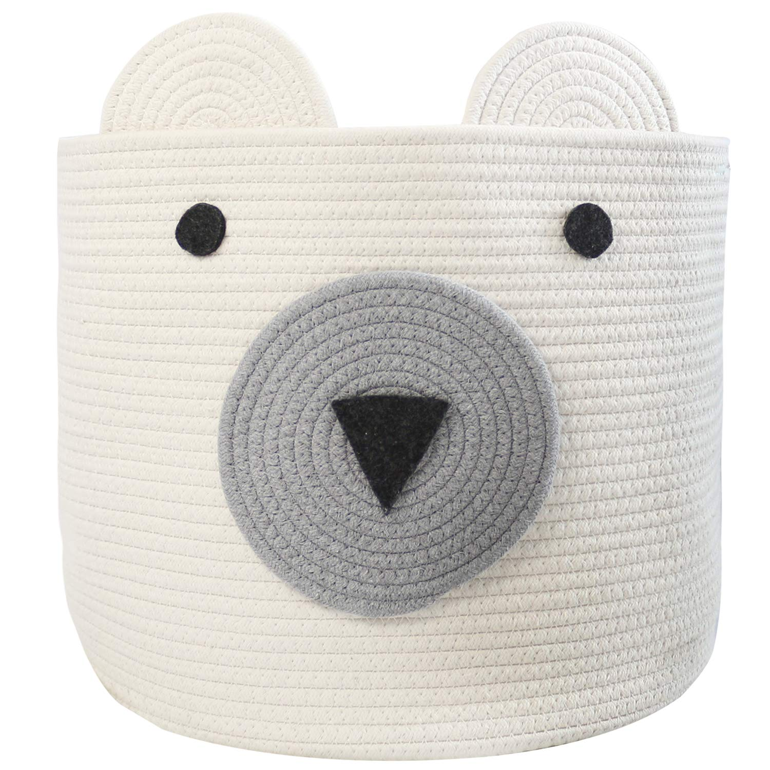 COMEMORY Cotton Rope Storage Basket with Cute Bear Design Foldable Woven Laundry Basket with Large Capacity Decorative Basket Organizer for Toys, Blanket, Towels, Clothes, 16''(D) x 14''(H) by comemory