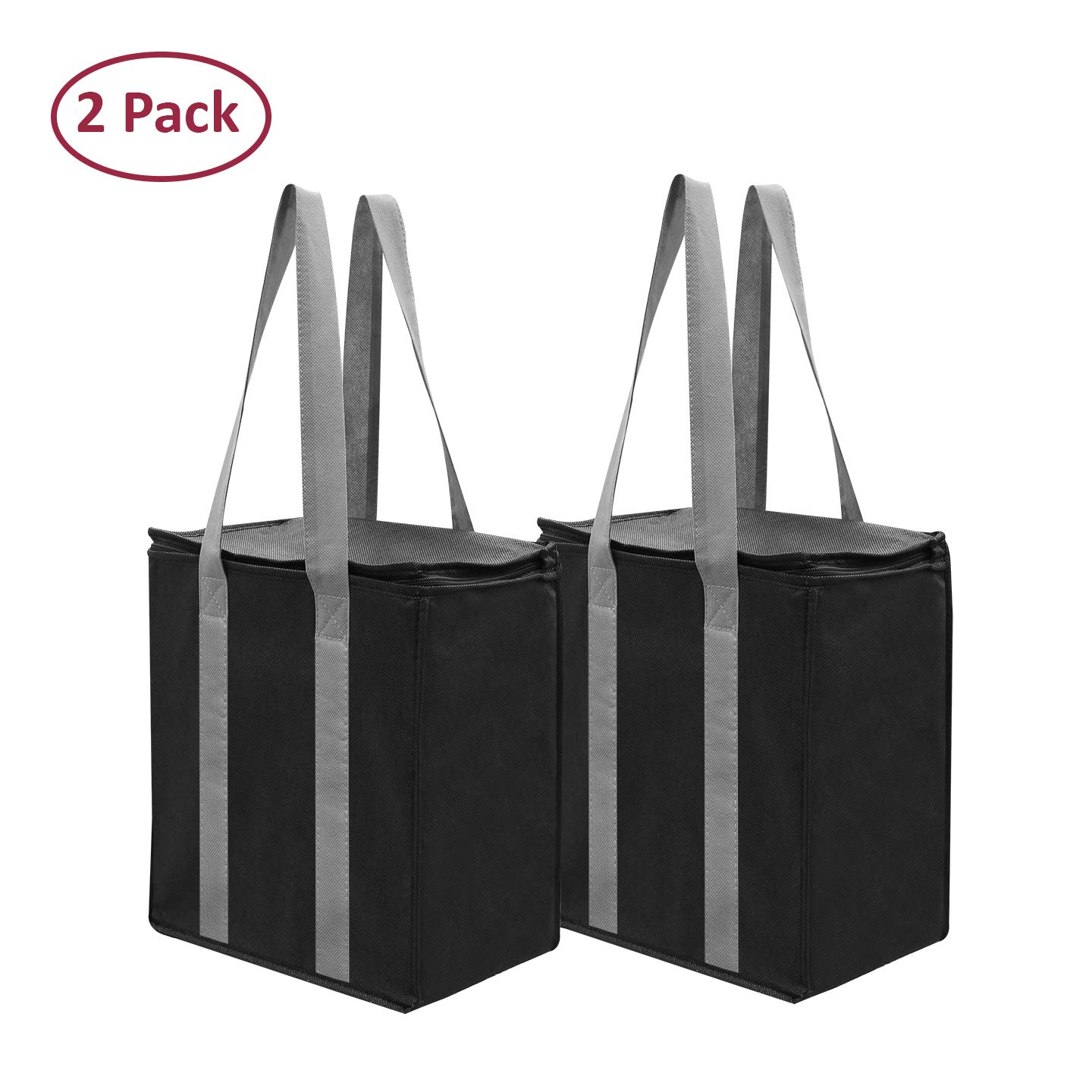 Insulated Reusable Grocery Bag Shopping Tote - Keeps Food Hot or Cold Large All Temperature Thermal Cooler Zipper Closure Lid Food Delivery and Catering (Black) by EarthWise