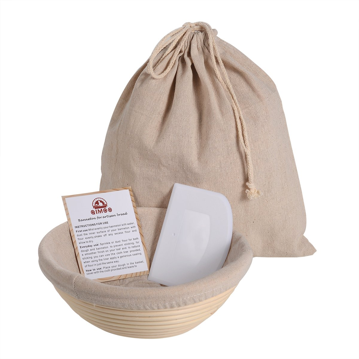 Round 8.5 inch Banneton Proofing Basket Baking Set (500g Dough) for Rising Sourdough Bread with Bowl Scraper & Brotform cloth Liner & Artisan Bread Loaf Bag