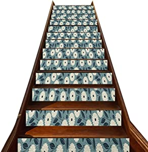 LCGGDB 3D Ivory and Blue Pattern Stair Stickers 13 PCS,Garden Art Style Bouquet of Ornate Flowers Illustration Self-Adhesive Refurbished Staircase Murals,for Hotel Home Staircase Riser Decor