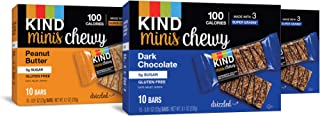product image for KIND Bar Minis Chewy Bar Variety Pack, 20 Dark Chocolate, 10 Peanut Butter, 100 Calories, Low Sugar, 30 Count