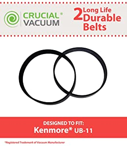 Crucial Vacuum Replacement for Kenmore UB-11 Drive Belts, Compatible with Part # 1860140600 (2 Pack)
