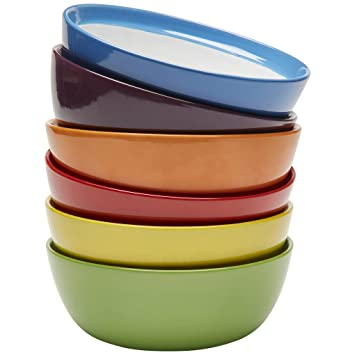 Premium Ceramic Set of 6 Colorful Meal Stoneware (Breakfast Bowls)  sc 1 st  Amazon.com : breakfast plates set of 6 - pezcame.com