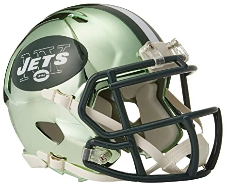 eef82bcd8c6 Image Unavailable. Image not available for. Color  Riddell Chrome Alternate  NFL Speed Authentic Mini Helmet New York Jets