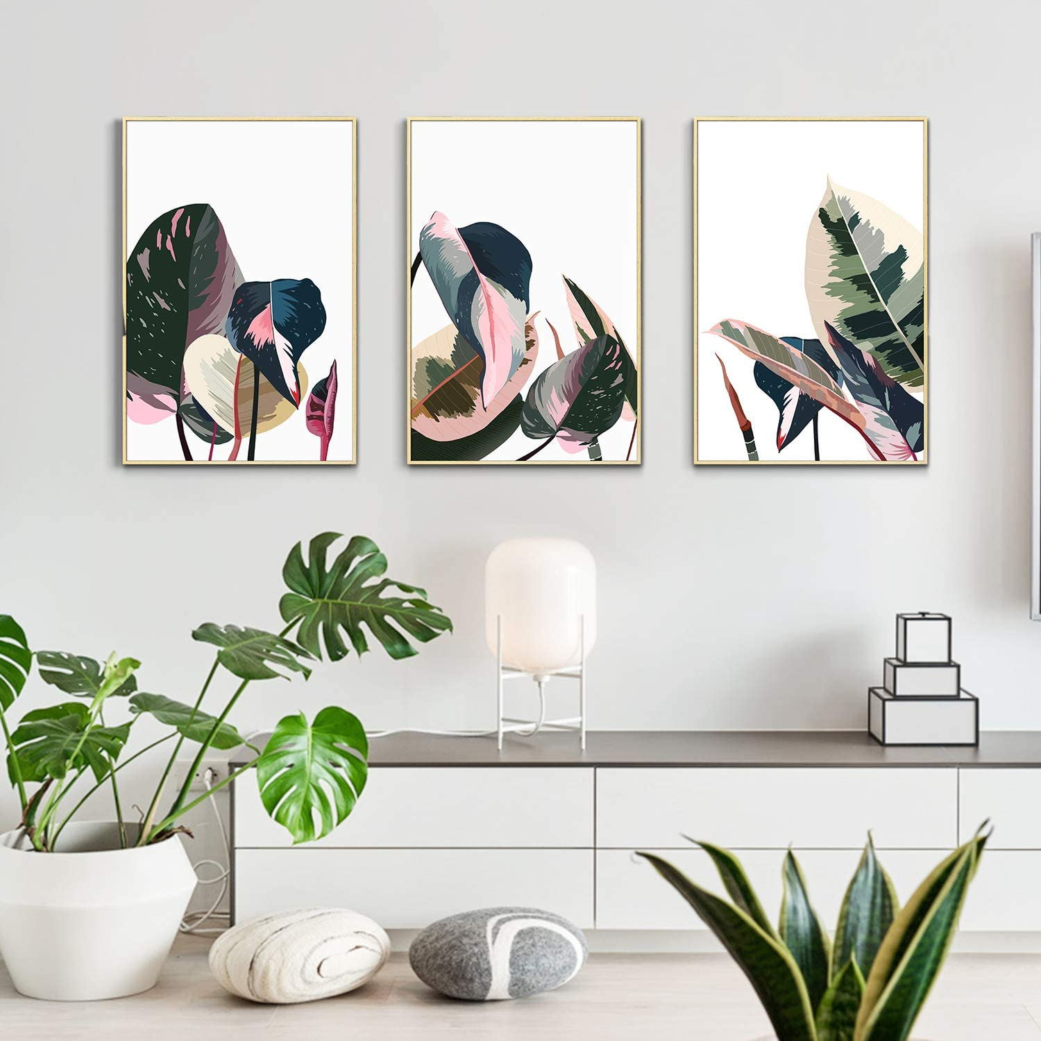 Artbyhannah 3 Pack 12 x 16 Inch Framed Canvas Wall Art Decor with Tropical Botanical Plant Prints Watercolored Canvas Prints Artwork Picture Ready to Hang for Home Decoration