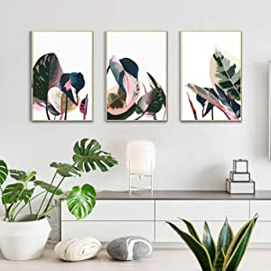 Artbyhannah 3 Pack 16x24 Inch Framed Canvas Wall Art Decor With Tropical Botanical Plant Prints Watercolored Canvas Prints Artwork Picture Ready To Hang For Home Decoration Posters Prints Amazon Com