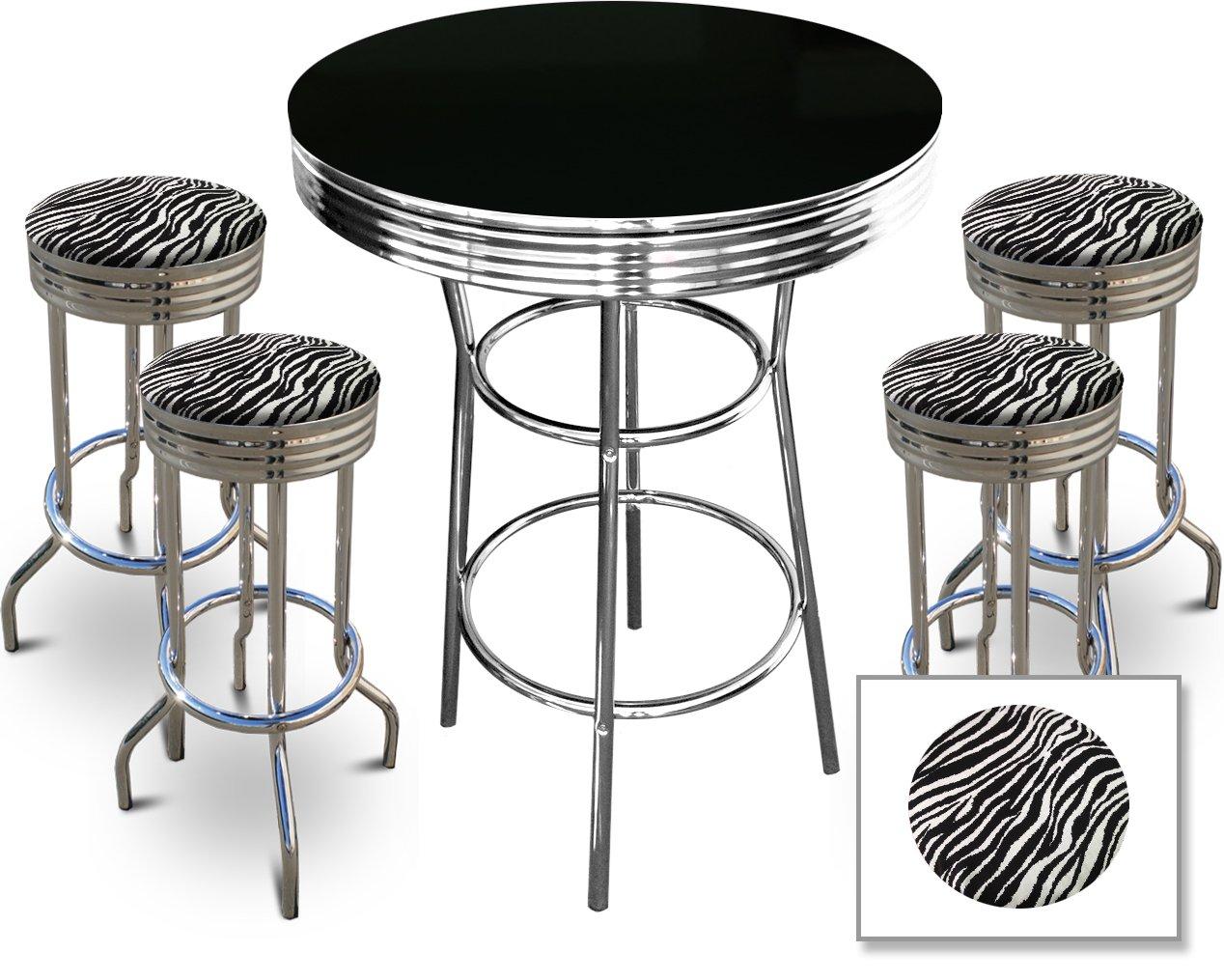 Amazon.com: 4 Zebra Print Barstools and Black Table Set: Kitchen ...