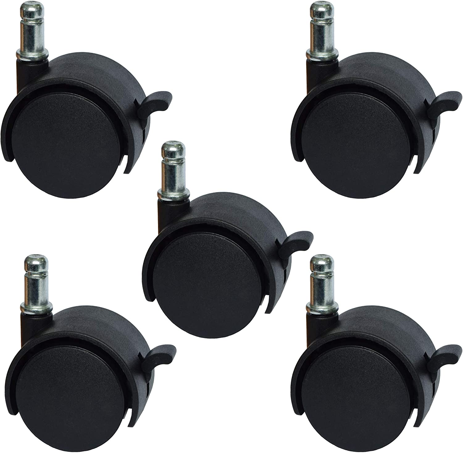 """2"""" Replacement Office Chair or Stool Caster Wheels - with Brake (Set of 5) CasterBrake5011"""