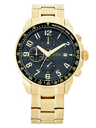 Guess Mens Gold-tone Multi-function chrono black dial Watch (U15072G4)