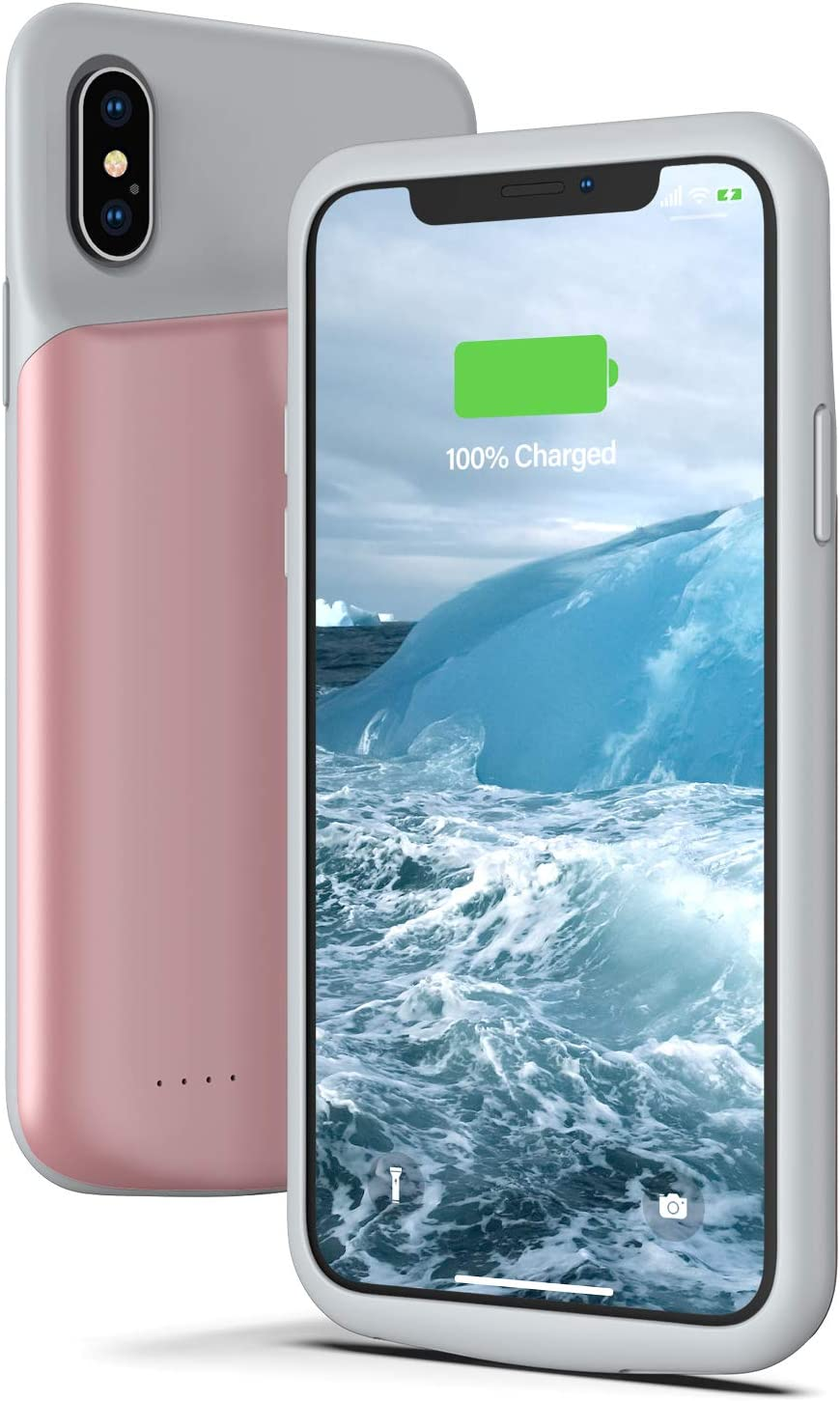 Lonlif Battery Case for iPhone X/XS/10, 4000mAh Ultra Slim Rechargeable Protective Charging Case, Extended Portable Battery Pack Charger Case Compatible with iPhone X/XS/10 (Rose Gold)