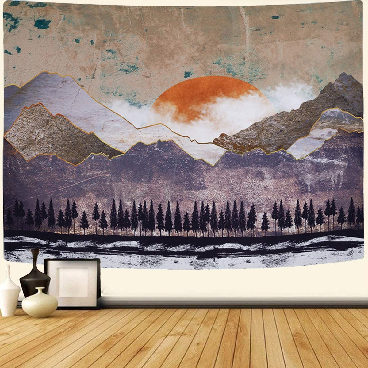 SENYYI Mountain and Sunset Tapestry Wall Hanging Big Sun Tapestry Nature Scenery Art Tapestry Forest Trees Home Decor for Room 70.9 x 92.5 inches