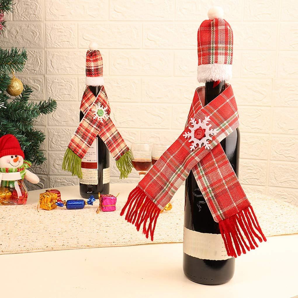 Bodbii Champagne Weinflasche M/ützen Schal Set Weihnachten Zuhause-Party-Tischdekorationen Rotwein-Dekor Flasche