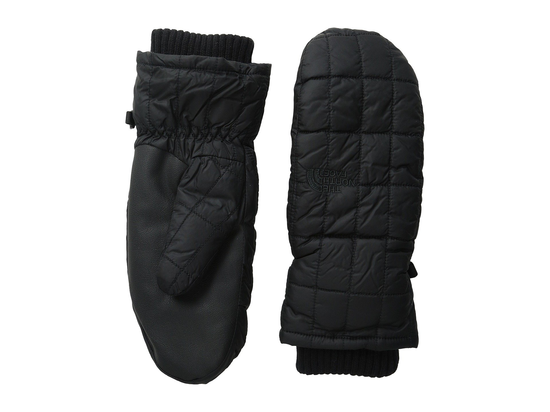 The North Face Womens Faux Leather Trim Knit Cuff Mittens Black XS by The North Face
