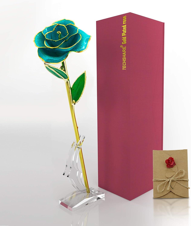 24K Gold Dipped Long Stem Genuine Rose in Beautiful Gift Box MSRP $388