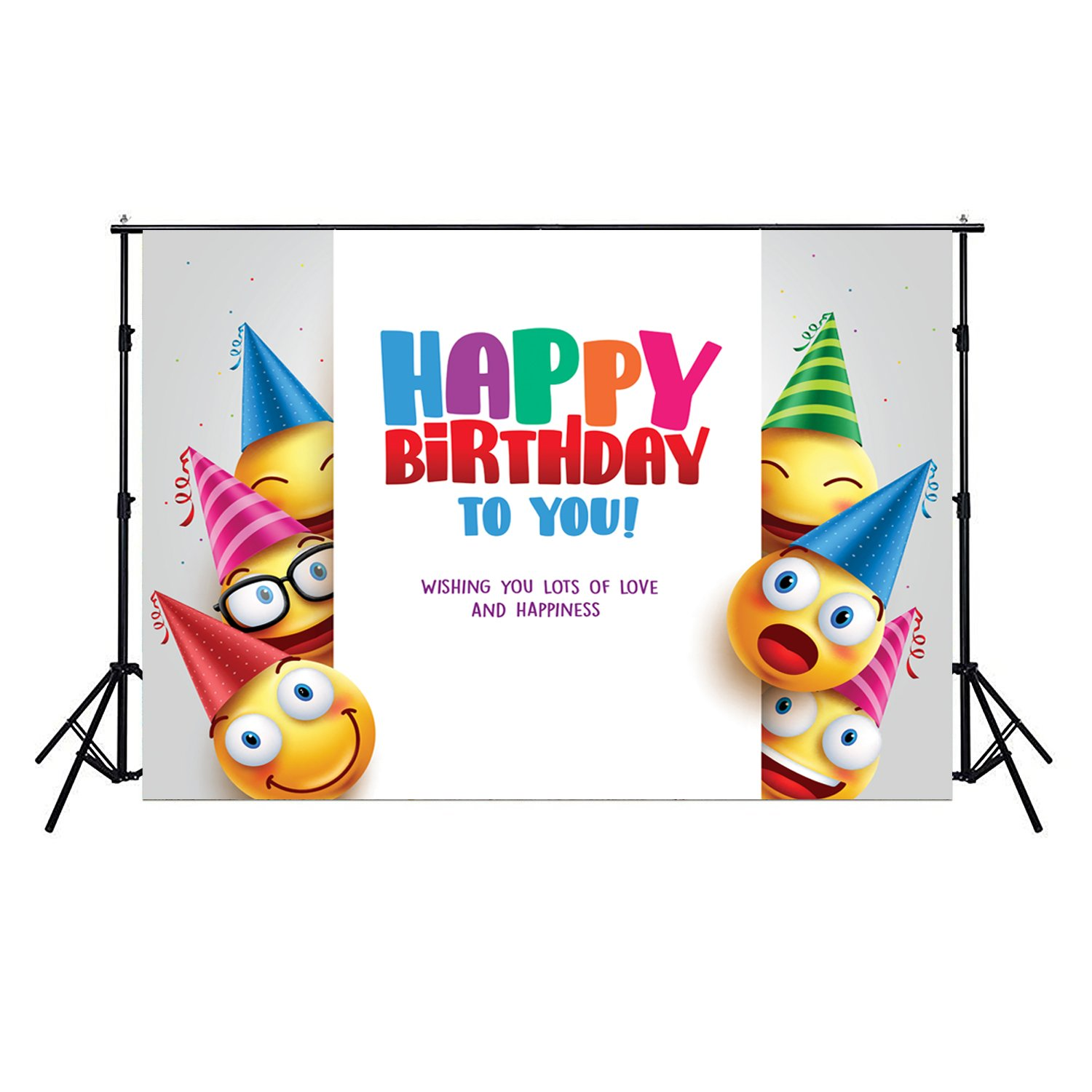 Dudaacvt 7x5ft Vinyl Brithday Emoji Backdrops White Wall Vector Design With Smileys Wearing Birthday Hat Photo Background For Baby Kids Decoration