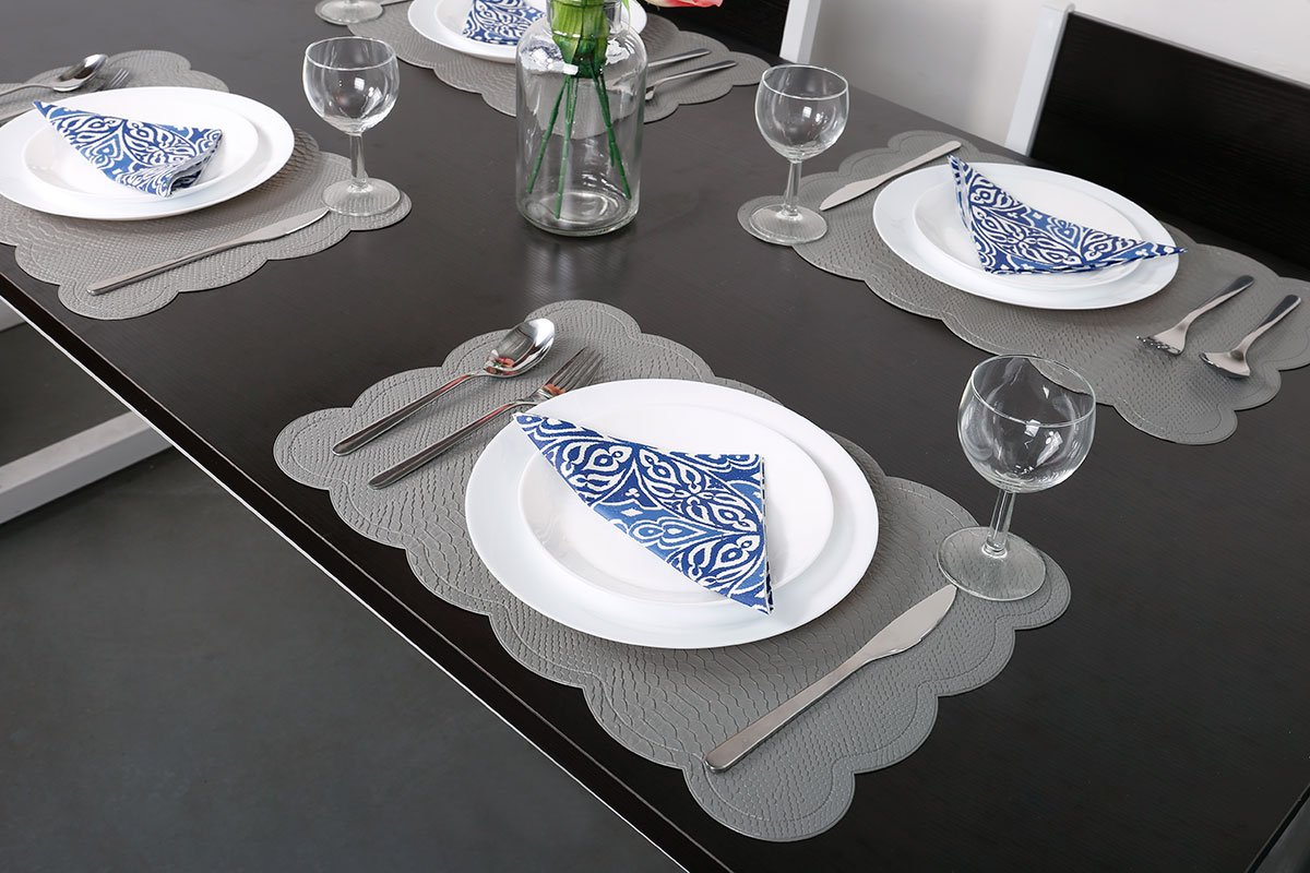 SICOHOME Leather Placemats,Grey Plastic Placemats Home,Set of 6 by SICOHOME (Image #3)