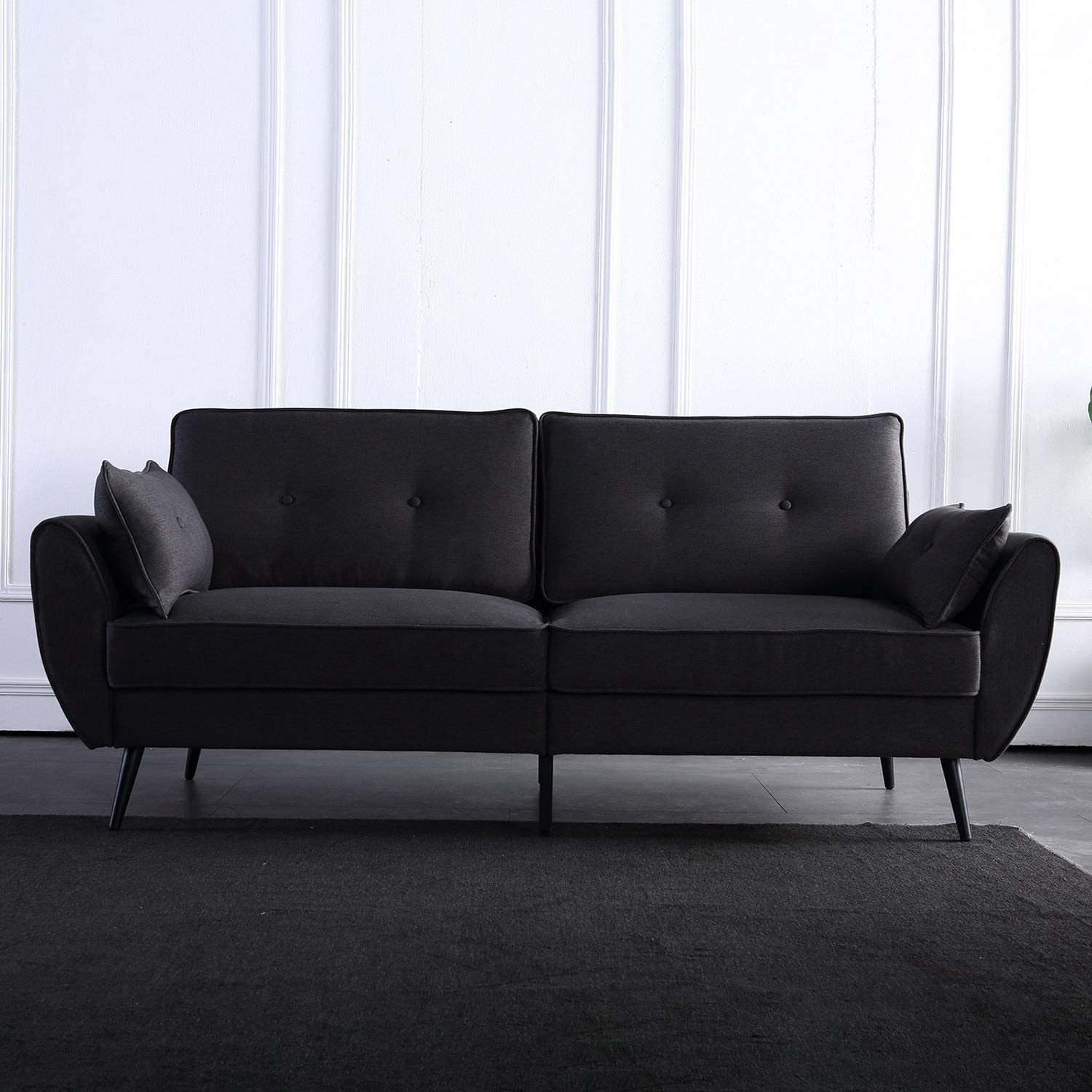 Haa Simple and Stylish Small Sofa Modern Fabric Couches for Living Room, Solid Wood Frame Three Seat- Sectional Couch Gray/Deepen Gray (Deepen Gray)