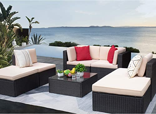 KaiMeng Patio Furniture 7 Pieces Outdoor Sets Rattan Conversation Sofa Sectional All-Weather
