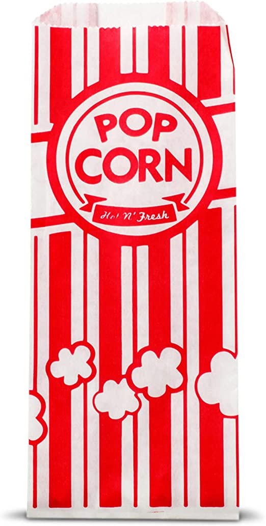 Amazon Com 200 Popcorn Bags 1 Once Perfect Size For Theater Movies Birthday Parties Celebration Great Carnival Light Snacking Bags Popcorn Bags For Party Sturdy Paper Bags Liquor Sip Kitchen Dining
