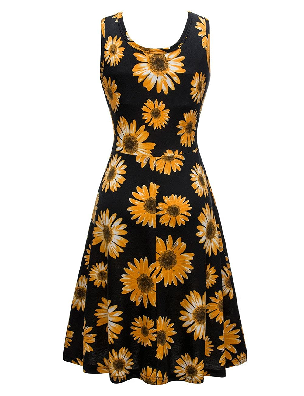 d1954d1663de Amazon.com: Herou Summer Spring Sleeveless Casual Flared Floral Dresses for  Women: Clothing