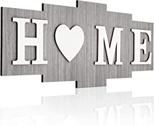 Home Signs for Home Decor, Wood Home Sign, Home Sweet Heart Rustic Wall Decor, Wood Wall Sign Decoration Wooden Wall Art Sign for Bedroom, Living Room, Wall, Wedding Decor (Minimalist Color)