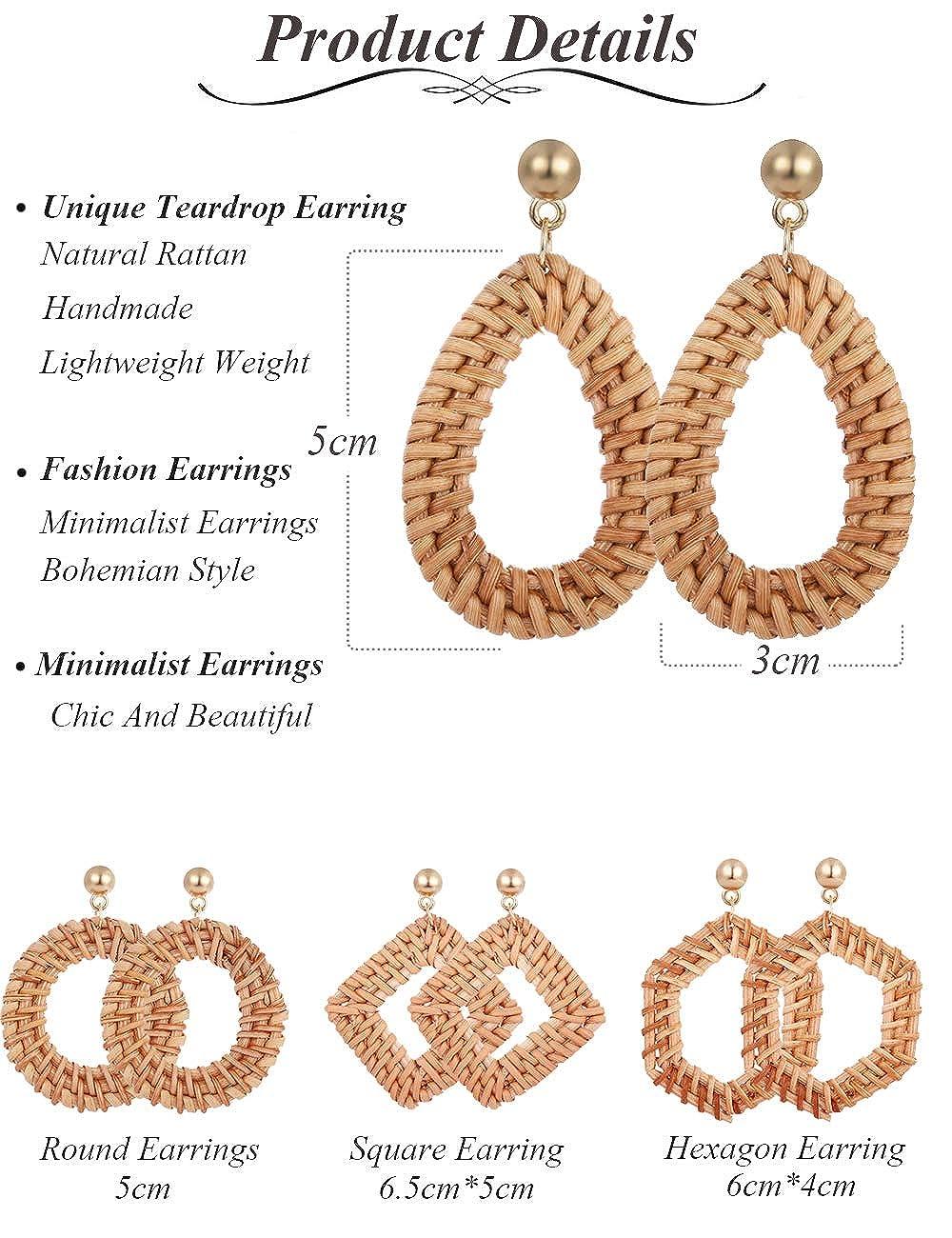 VALIJINA 2 Pairs Rattan Dangle Drop Earrings for Women Girls Bohemia Handmade Straw Woven Lightweight Geometric Statement Earrings Set