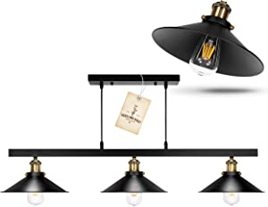 TYG - Pool Table Light, Billard Table Light, Pool Table Lights for 8 Table, Farmhouse Dining Room Lighting Fixtures Hanging, Black Rustic Chandelier